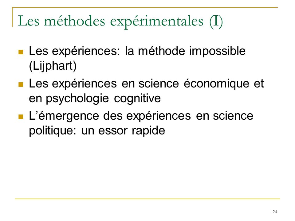 Les méthodes expérimentales (I)