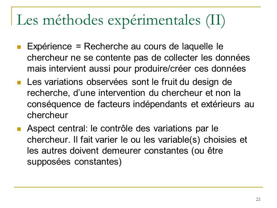 Les méthodes expérimentales (II)