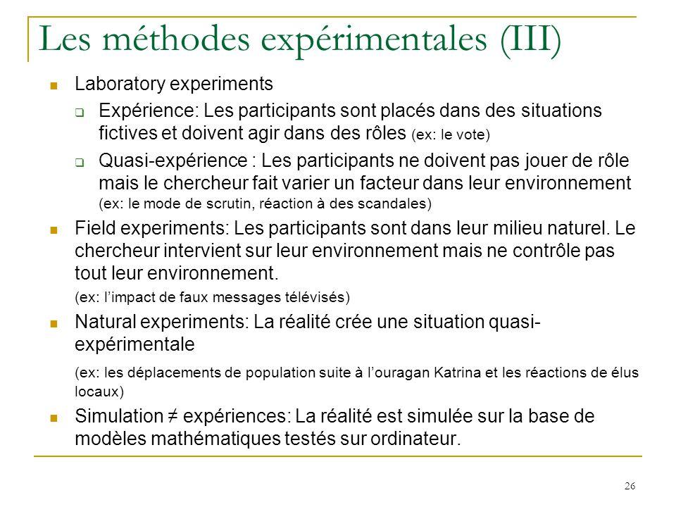 Les méthodes expérimentales (III)