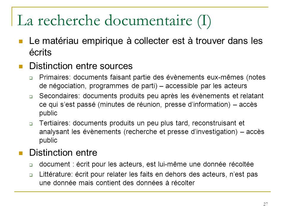 La recherche documentaire (I)