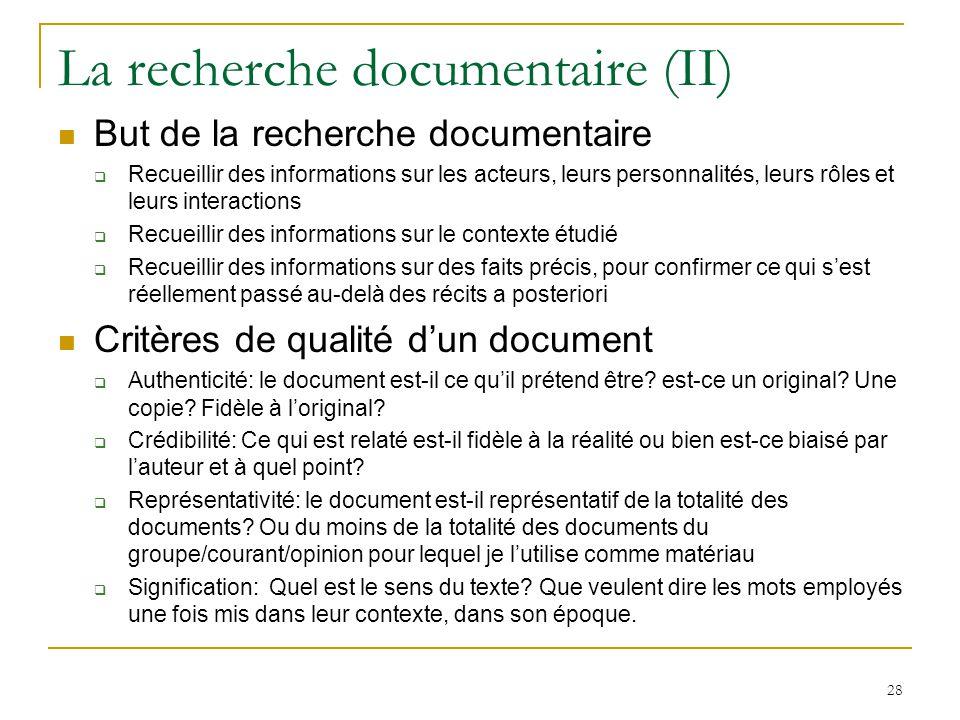 La recherche documentaire (II)