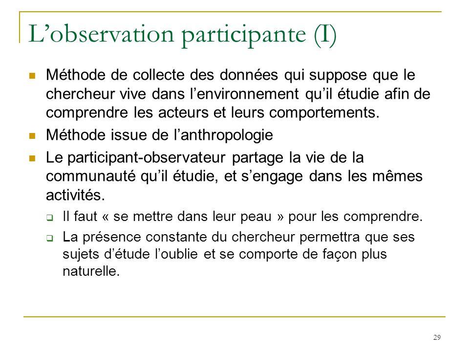 L'observation participante (I)