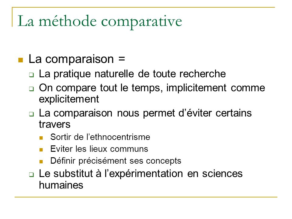 La méthode comparative