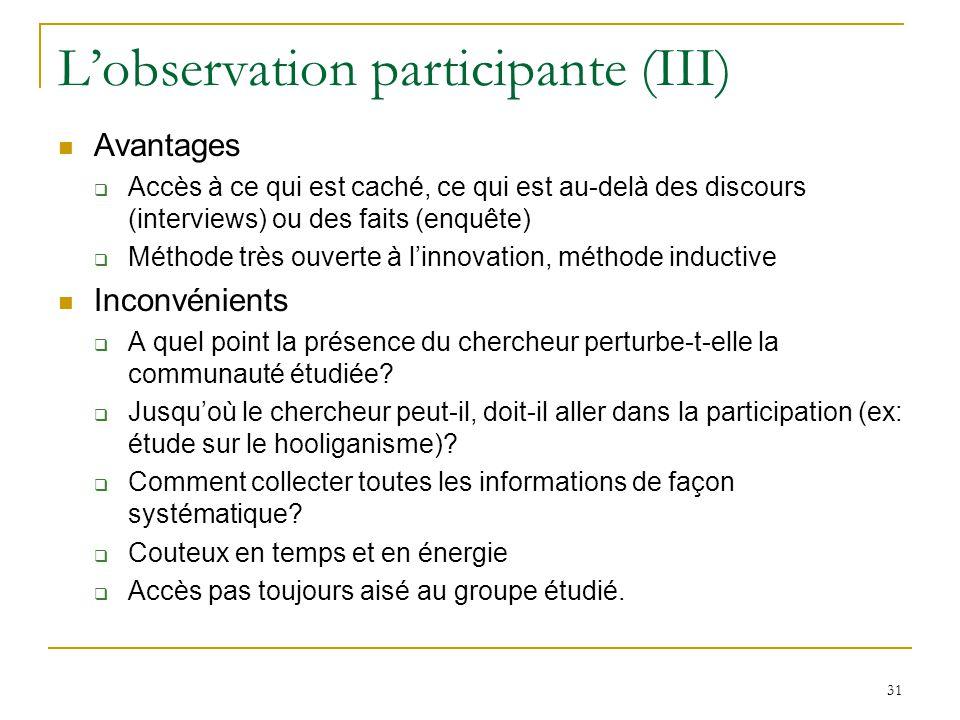 L'observation participante (III)