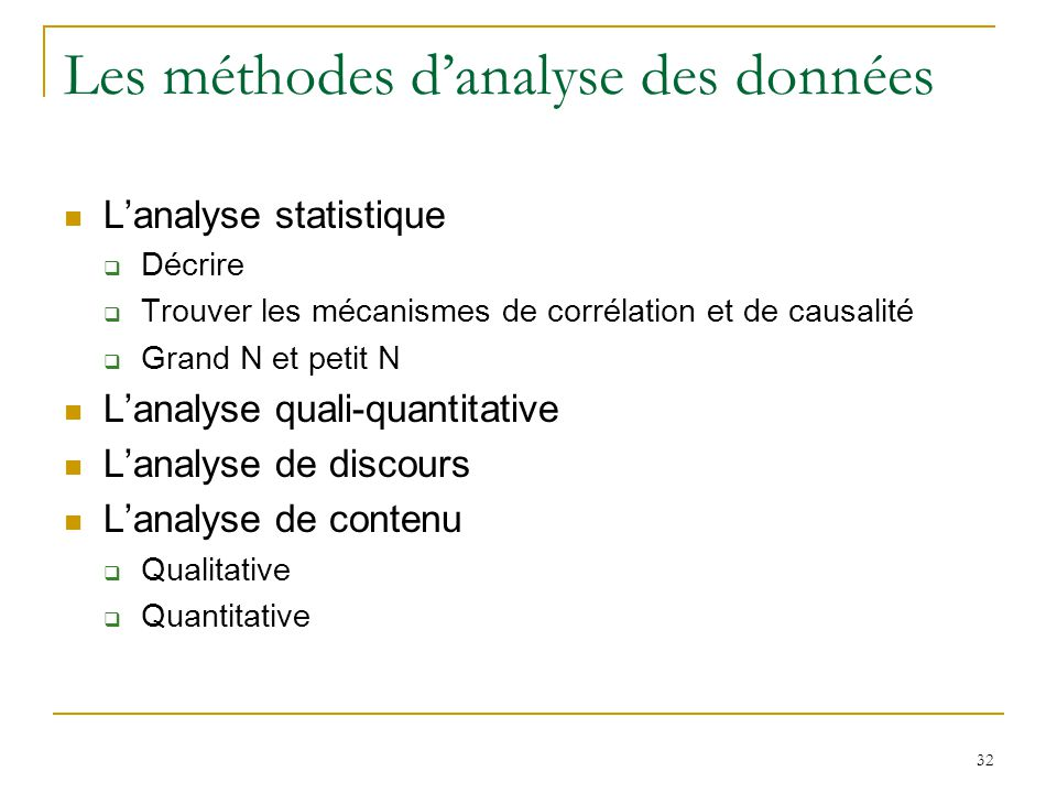 Les méthodes d'analyse des données