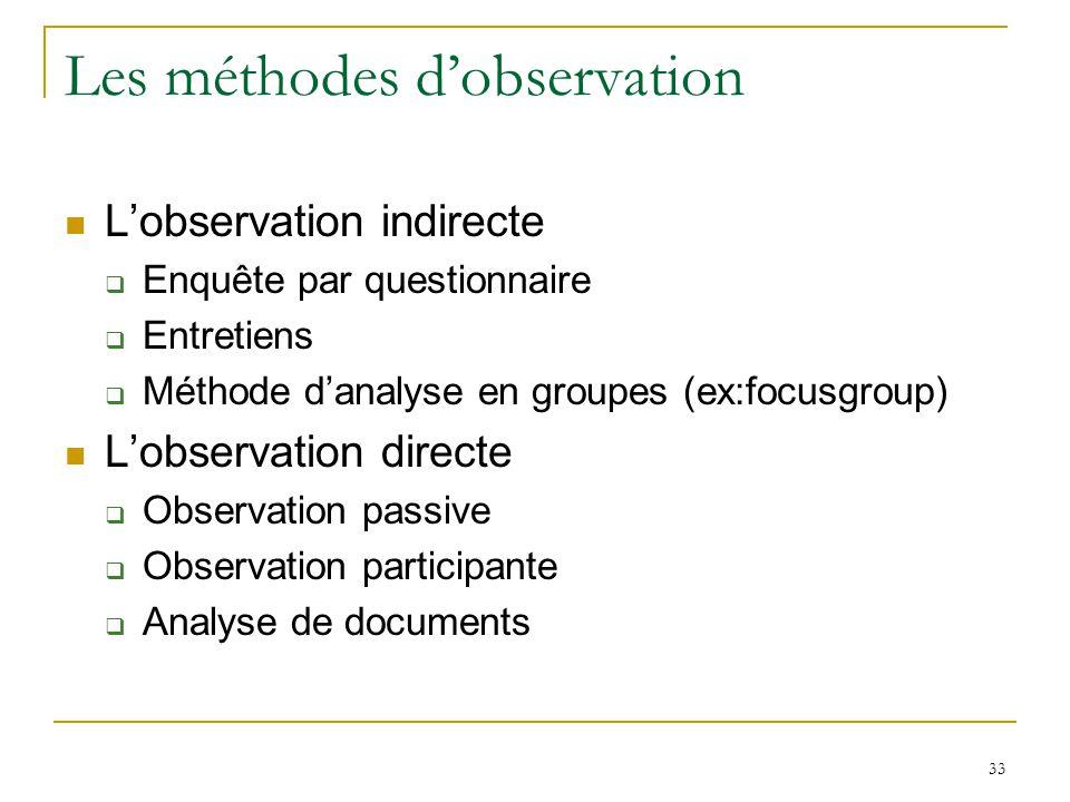 Les méthodes d'observation