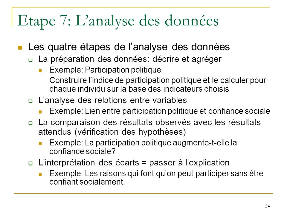 Etape 7: L'analyse des données