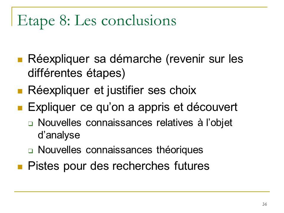 Etape 8: Les conclusions