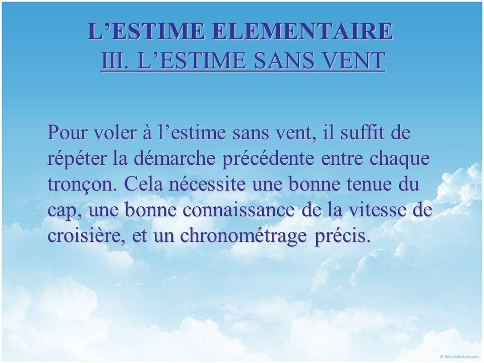 L'ESTIME ELEMENTAIRE III. L'ESTIME SANS VENT
