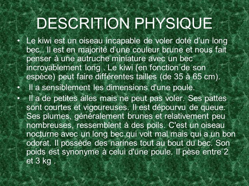 DESCRITION PHYSIQUE