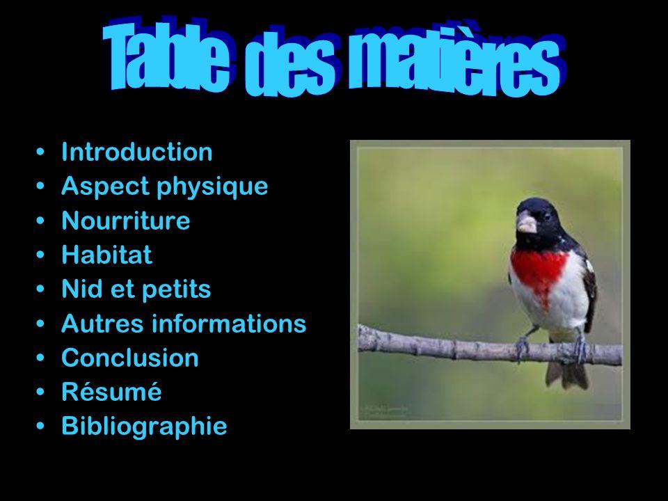 Table des matières Introduction Aspect physique Nourriture Habitat