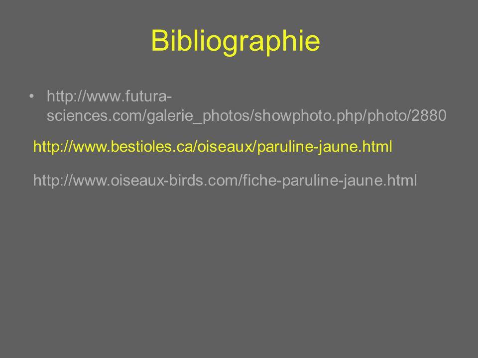 Bibliographie http://www.futura-sciences.com/galerie_photos/showphoto.php/photo/2880. http://www.bestioles.ca/oiseaux/paruline-jaune.html.