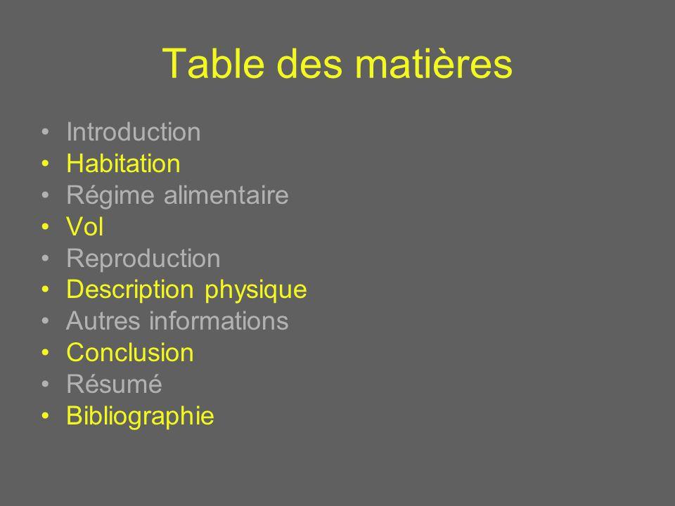 Table des matières Introduction Habitation Régime alimentaire Vol