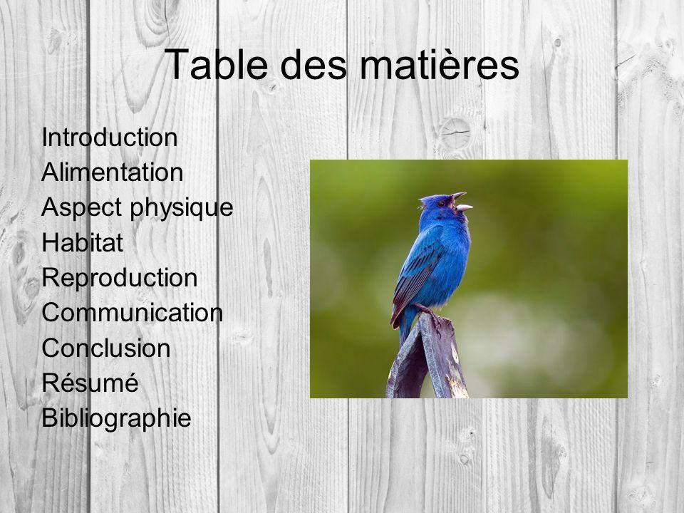 Table des matières Introduction Alimentation Aspect physique Habitat