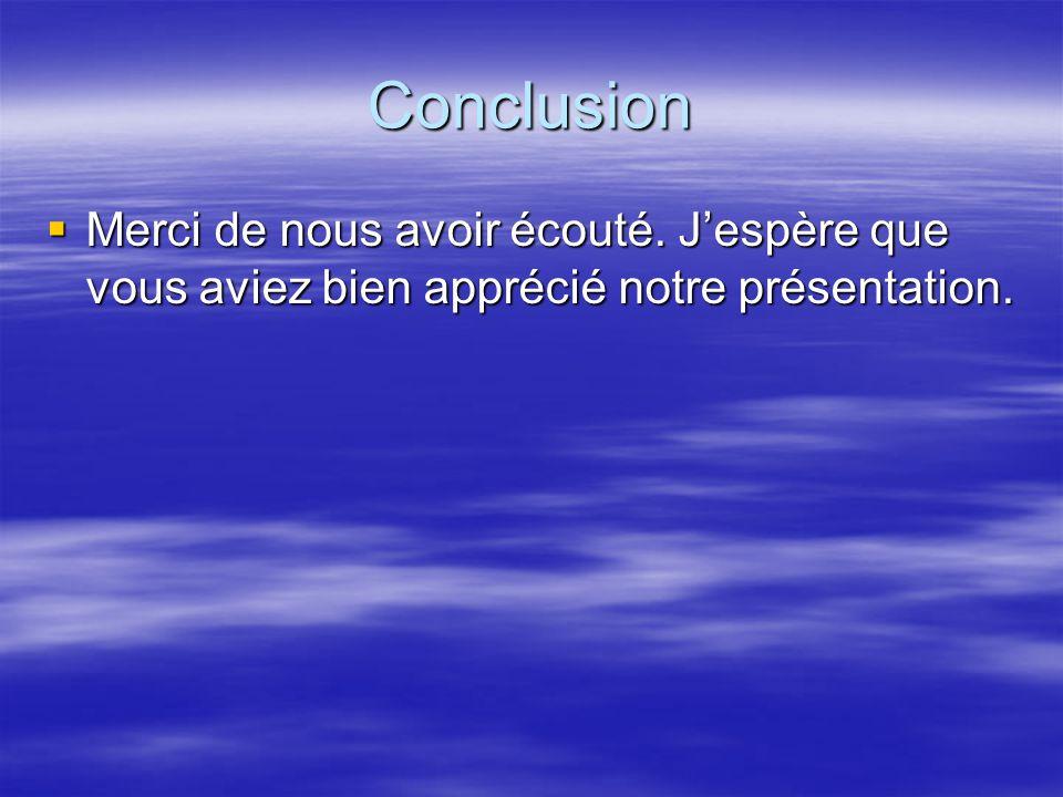 Conclusion Merci de nous avoir écouté. J'espère que vous aviez bien apprécié notre présentation.