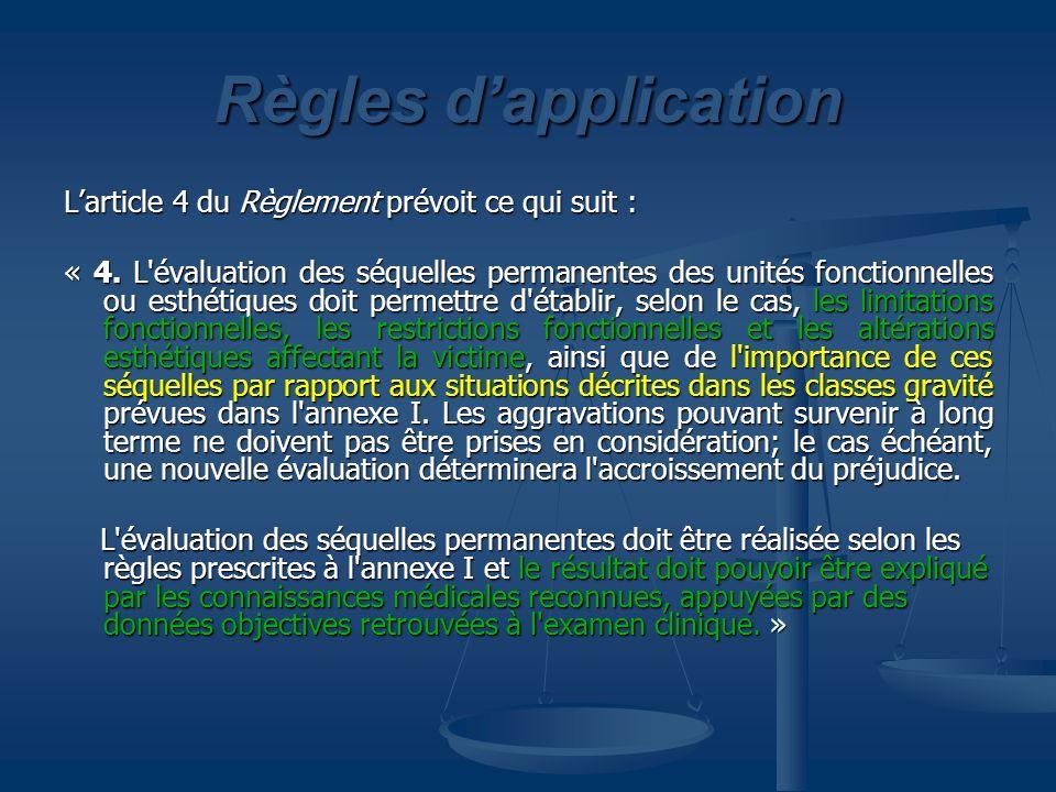 Règles d'application L'article 4 du Règlement prévoit ce qui suit :