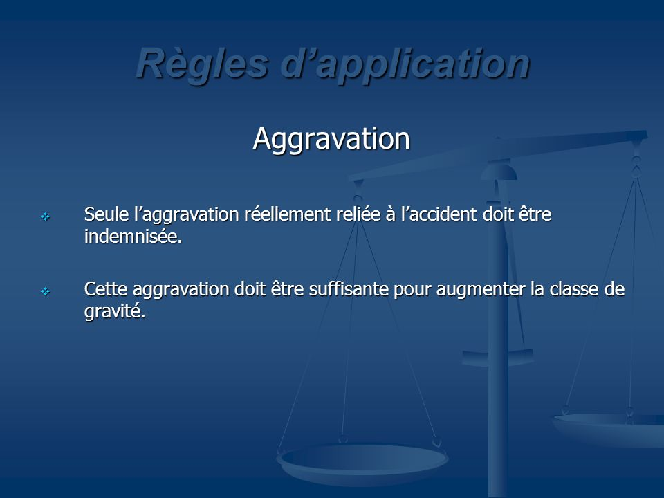 Règles d'application Aggravation