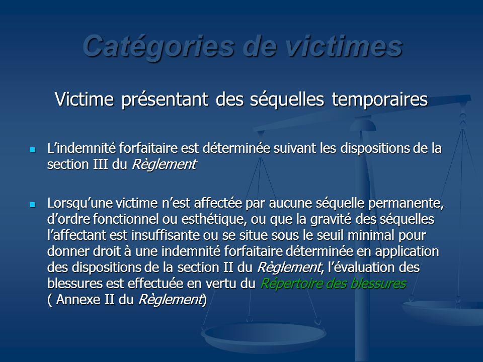 Catégories de victimes