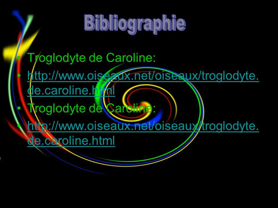 Bibliographie Troglodyte de Caroline: