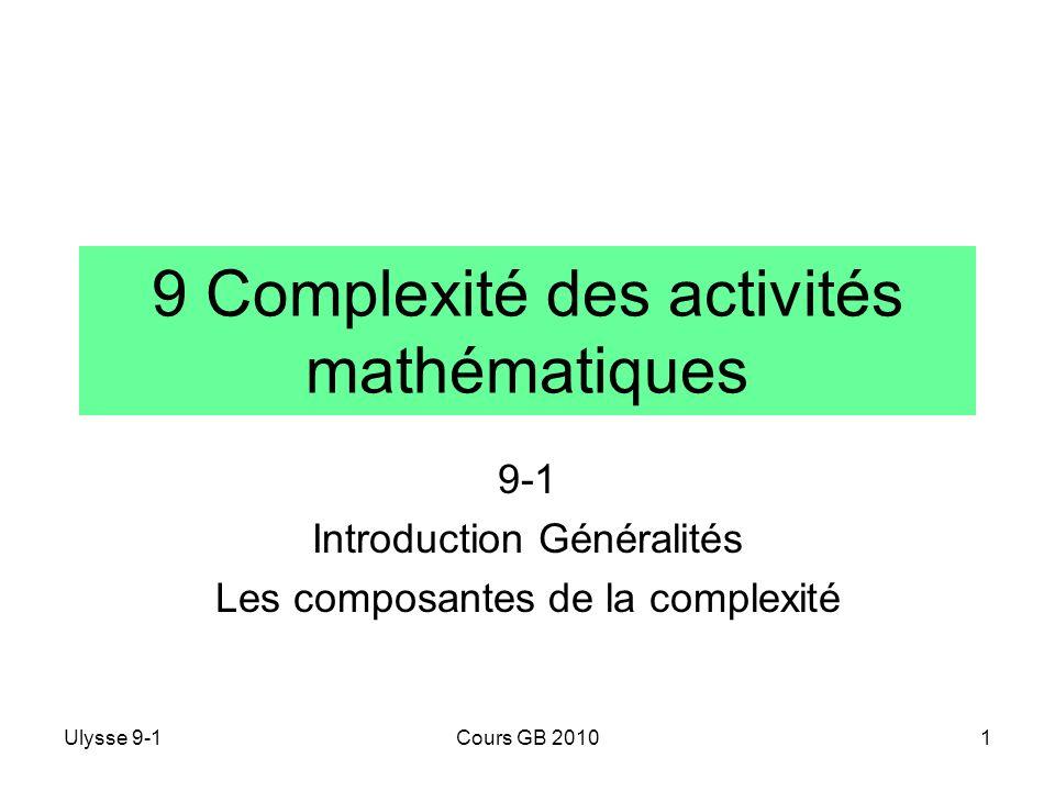 9 Complexité des activités mathématiques
