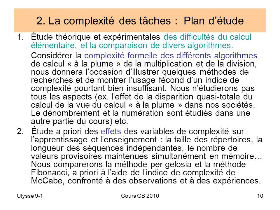 2. La complexité des tâches : Plan d'étude