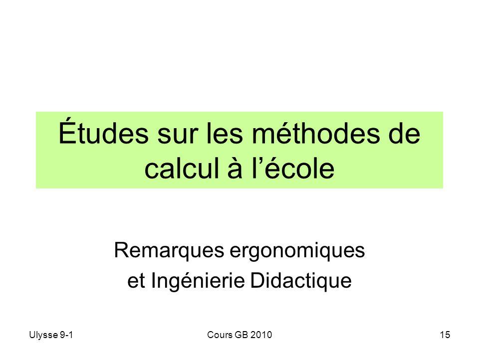 Études sur les méthodes de calcul à l'école
