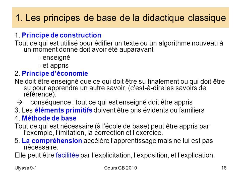 1. Les principes de base de la didactique classique