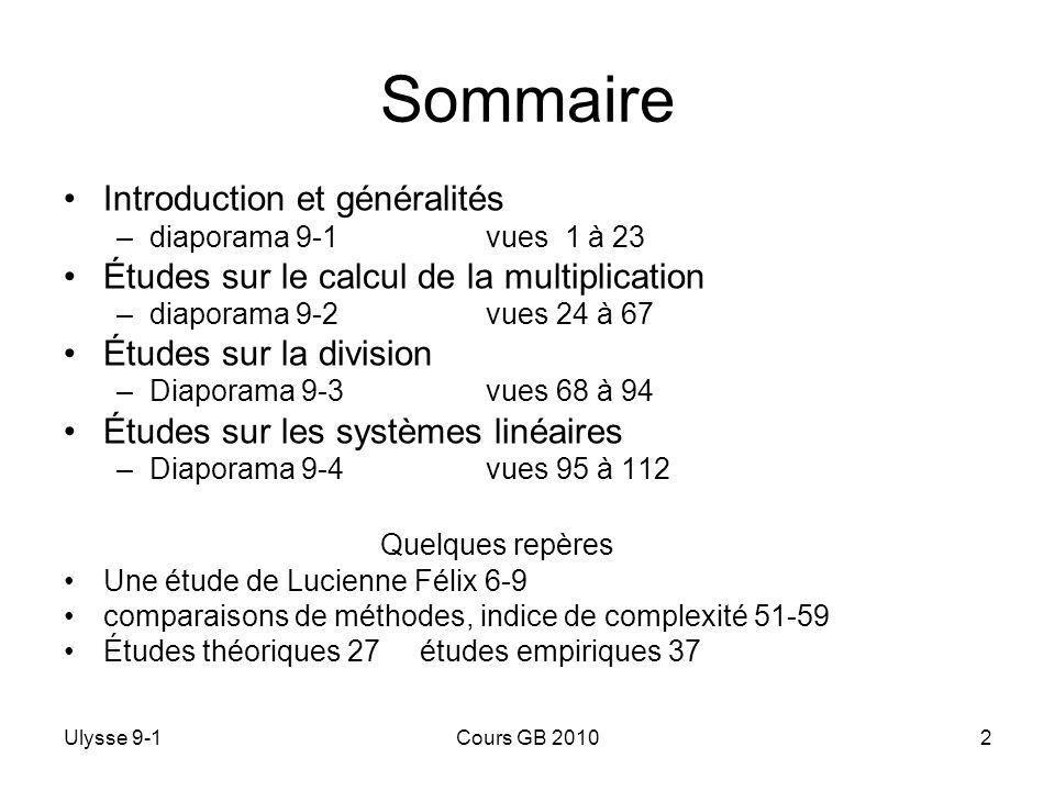 Sommaire Introduction et généralités