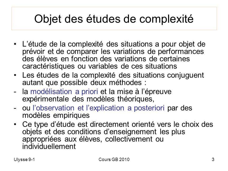 Objet des études de complexité