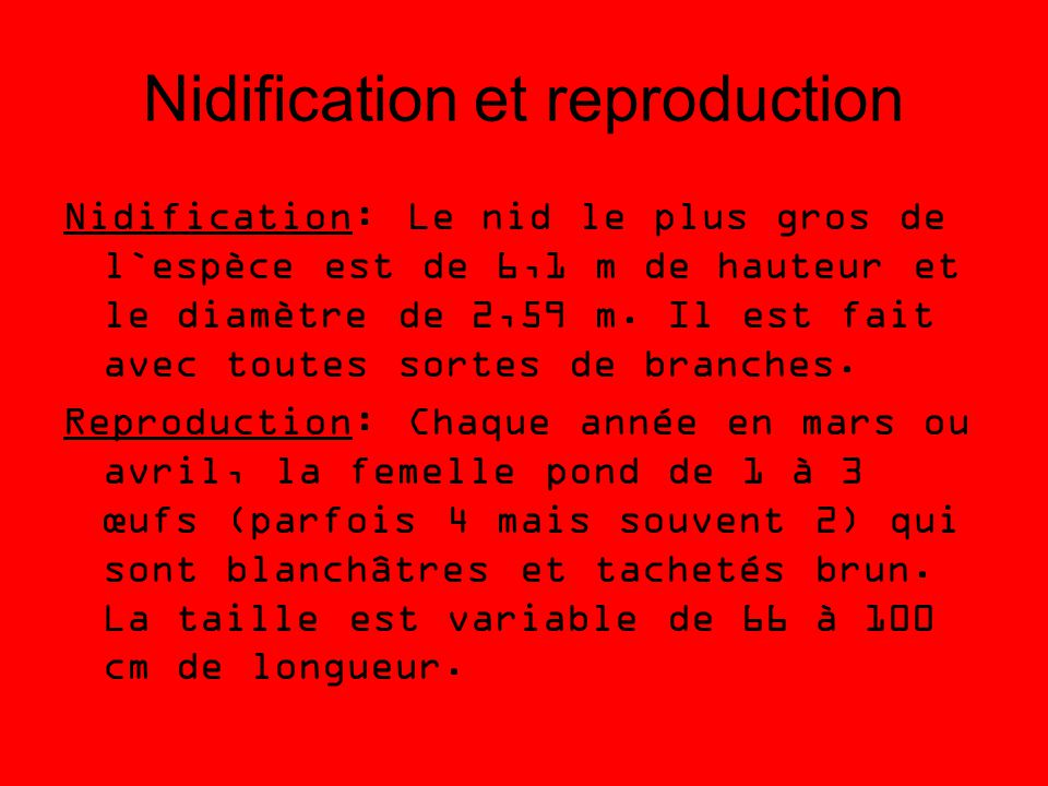 Nidification et reproduction