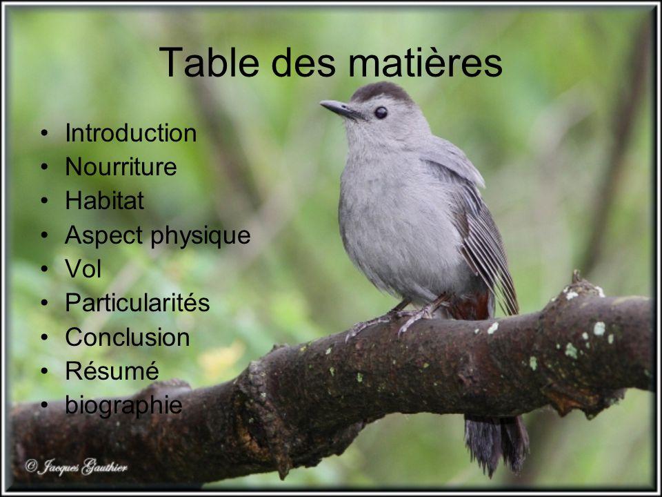 Table des matières Introduction Nourriture Habitat Aspect physique Vol