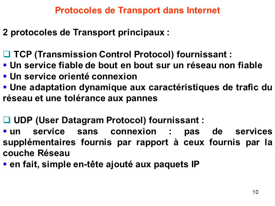 Protocoles de Transport dans Internet