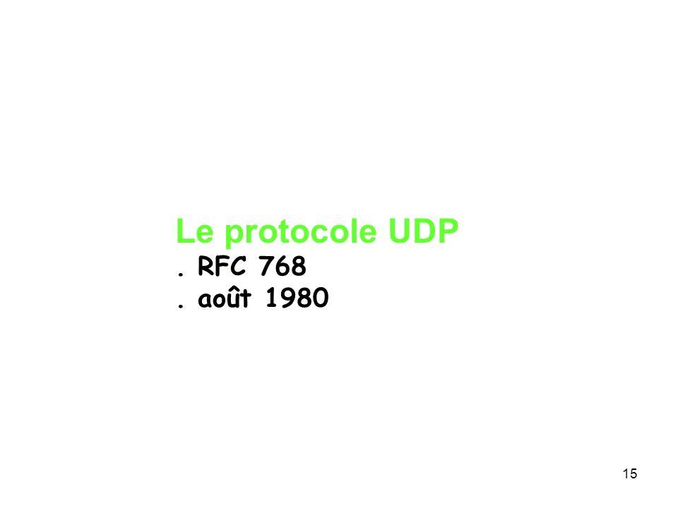 Le protocole UDP . RFC 768 . août 1980