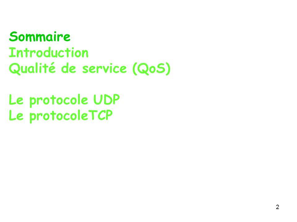 Sommaire Introduction Qualité de service (QoS) Le protocole UDP Le protocoleTCP