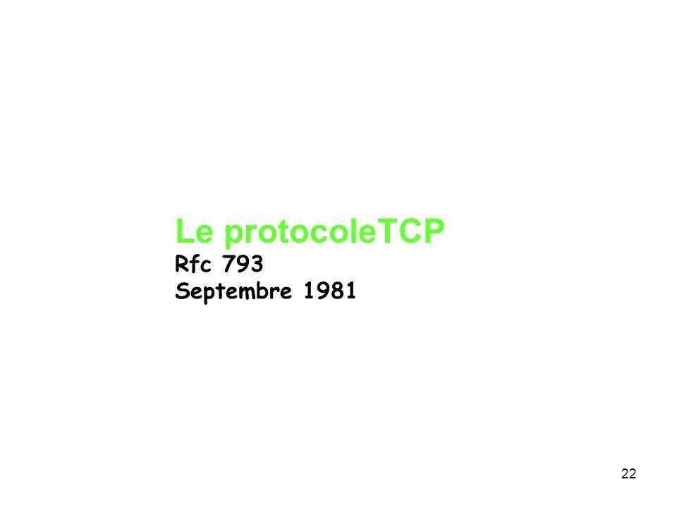 Le protocoleTCP Rfc 793 Septembre 1981