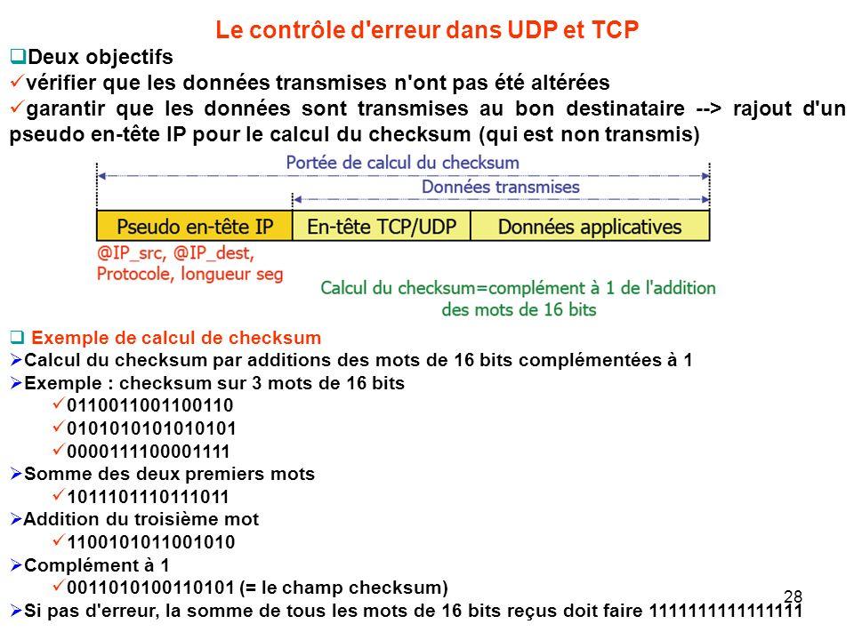 Le contrôle d erreur dans UDP et TCP