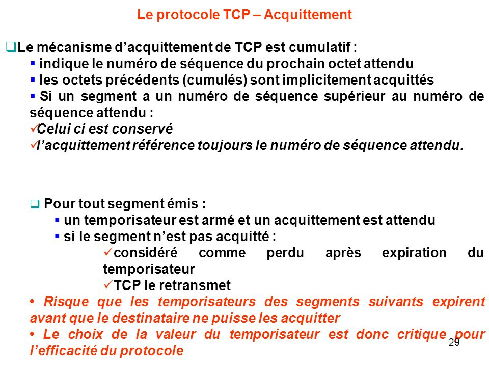 Le protocole TCP – Acquittement
