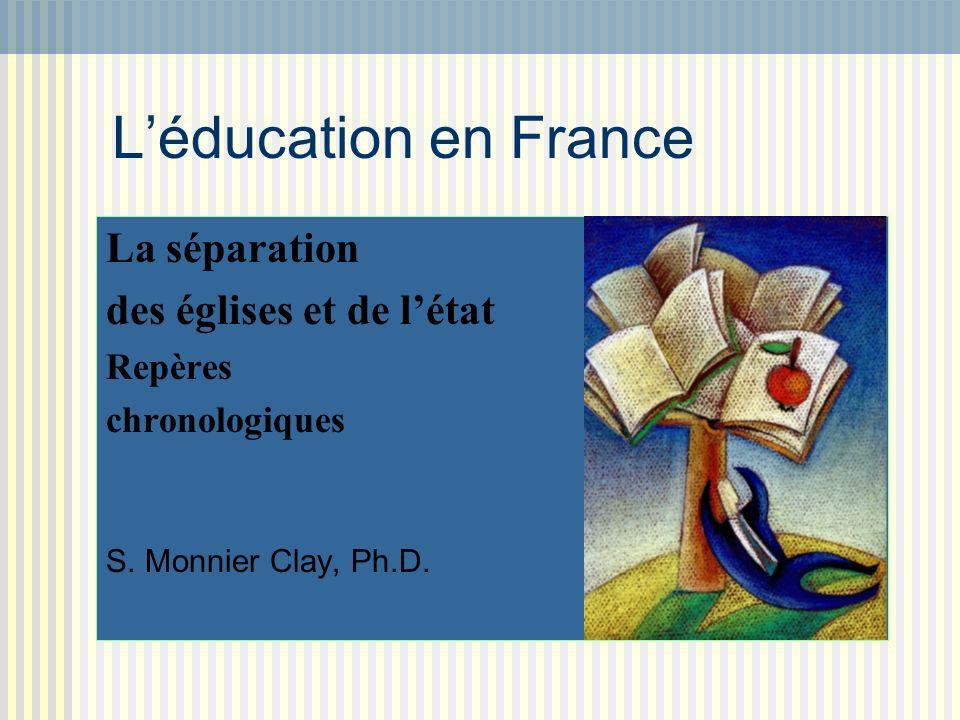 L'éducation en France La séparation des églises et de l'état Repères