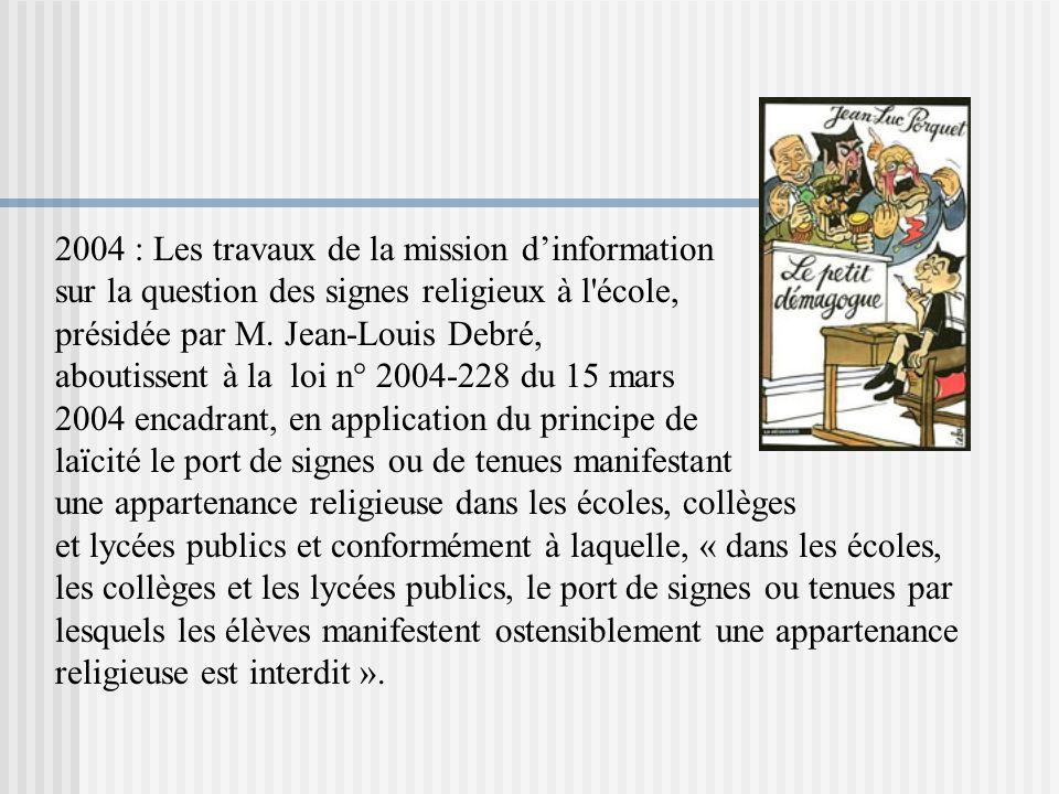 2004 : Les travaux de la mission d'information