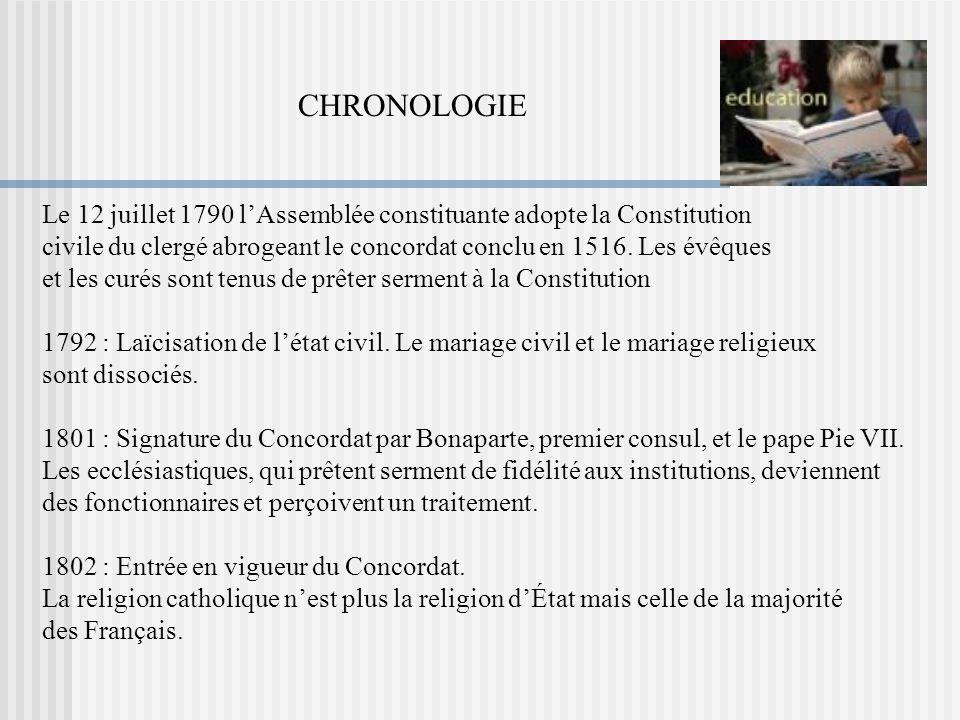 CHRONOLOGIE Le 12 juillet 1790 l'Assemblée constituante adopte la Constitution. civile du clergé abrogeant le concordat conclu en 1516. Les évêques.