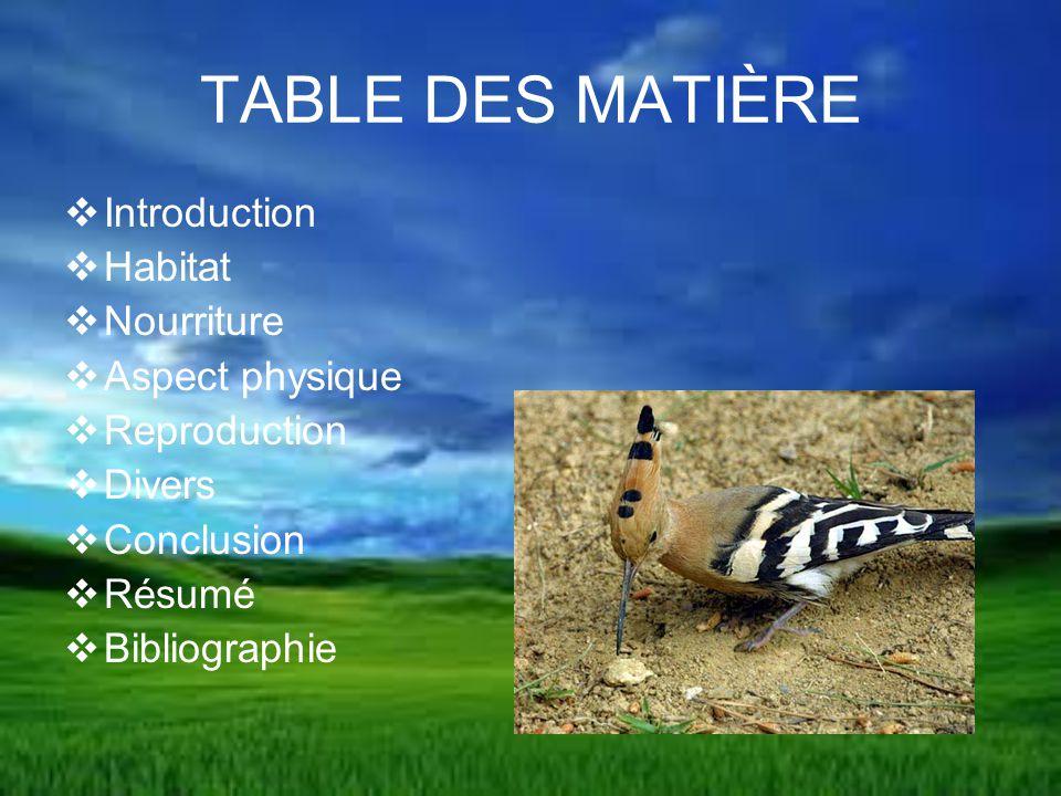 TABLE DES MATIÈRE Introduction Habitat Nourriture Aspect physique
