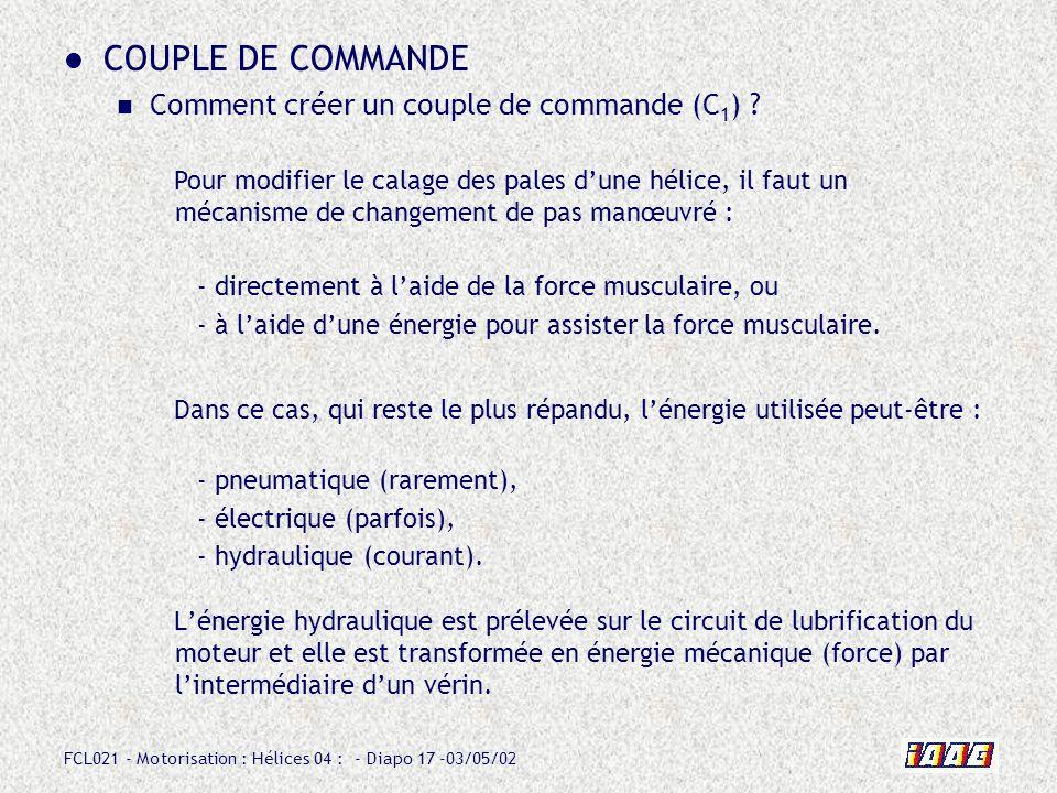 COUPLE DE COMMANDE Comment créer un couple de commande (C1)