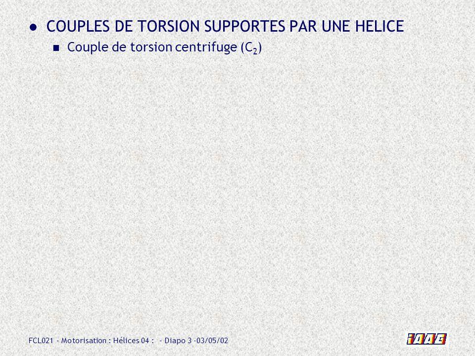 COUPLES DE TORSION SUPPORTES PAR UNE HELICE