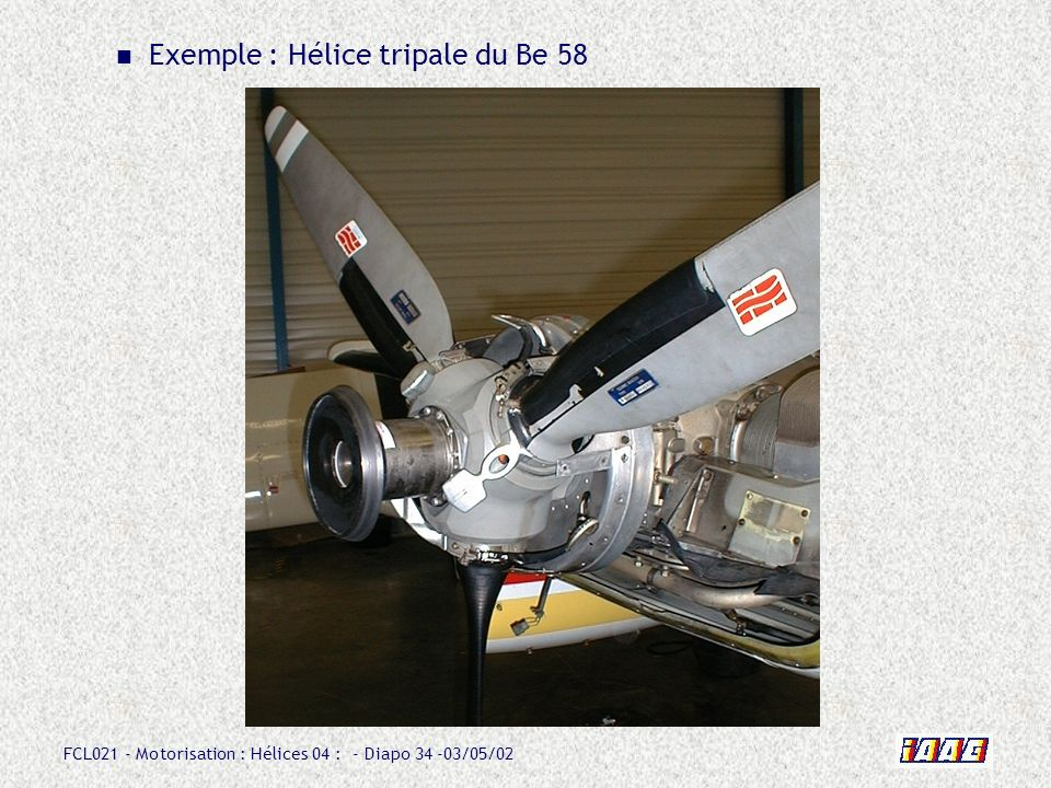 Exemple : Hélice tripale du Be 58