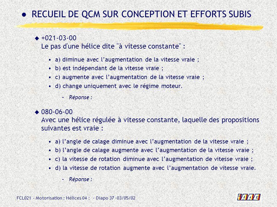 RECUEIL DE QCM SUR CONCEPTION ET EFFORTS SUBIS