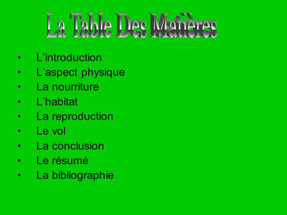 La Table Des Matières L'introduction L'aspect physique La nourriture