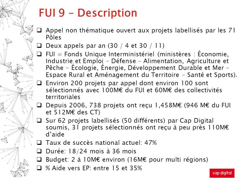 FUI 9 – DescriptionAppel non thématique ouvert aux projets labellisés par les 71 Pôles. Deux appels par an (30 / 4 et 30 / 11)