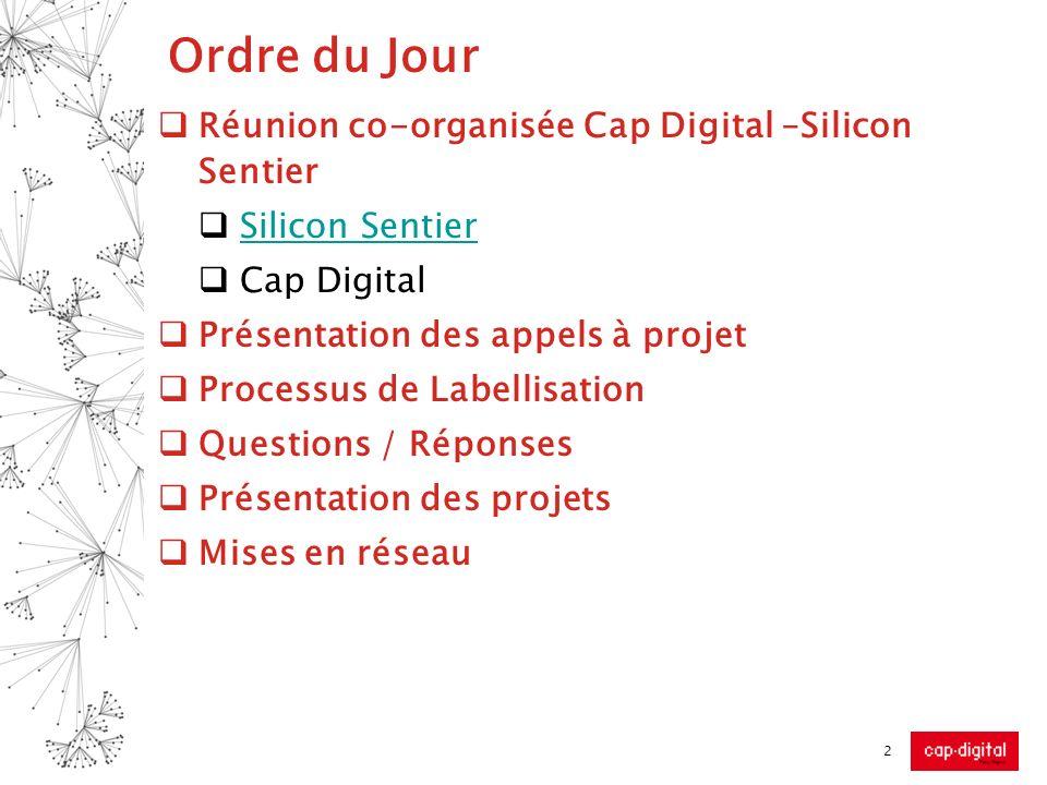 Ordre du Jour Réunion co-organisée Cap Digital –Silicon Sentier