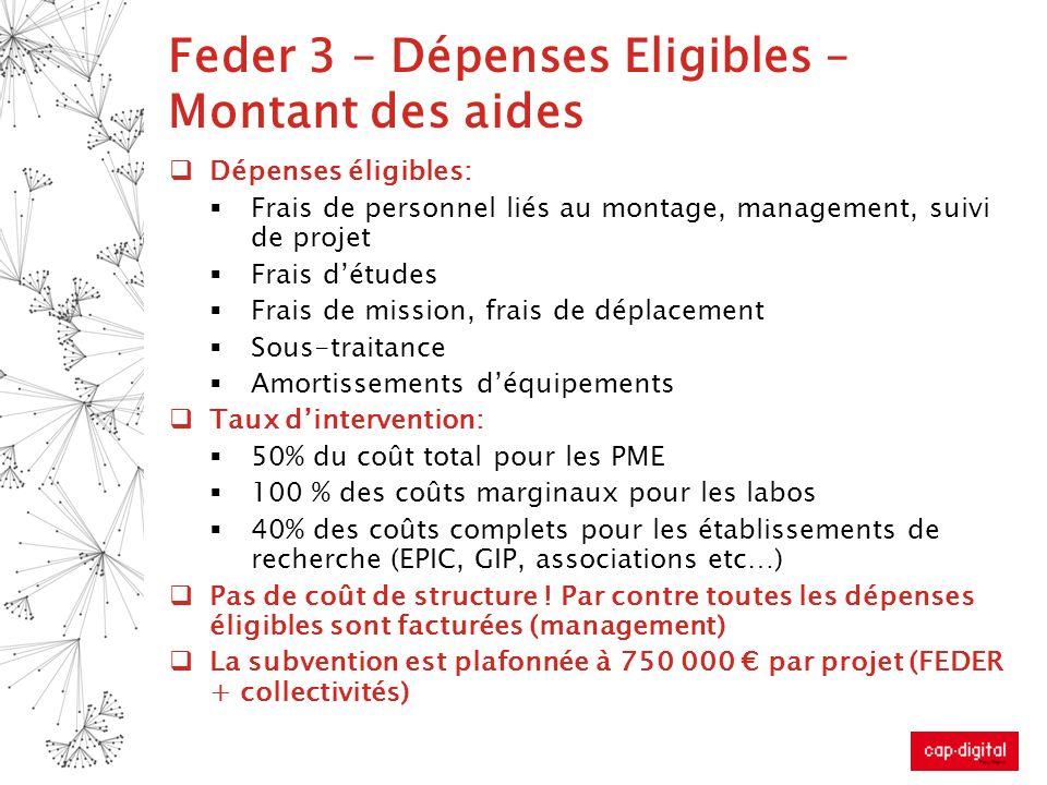 Feder 3 – Dépenses Eligibles – Montant des aides