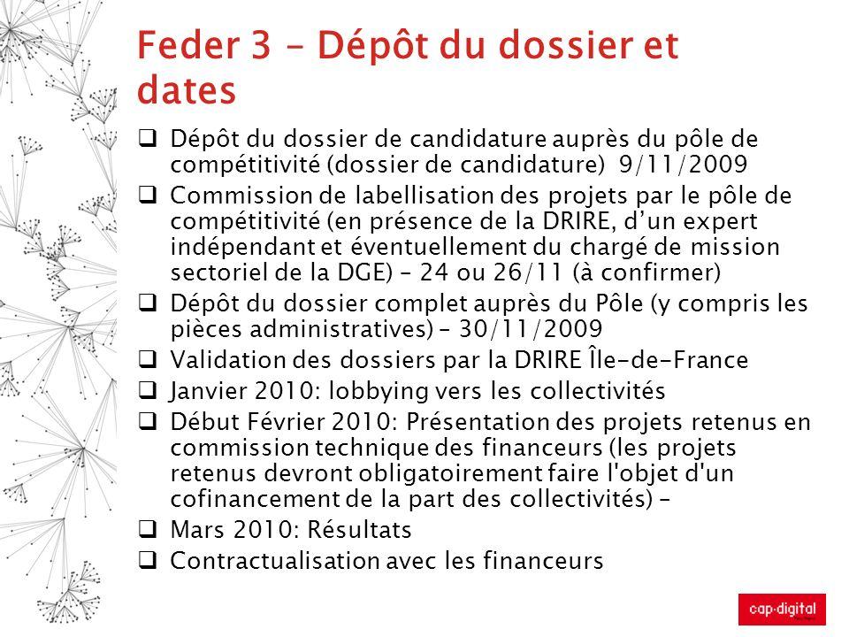 Feder 3 – Dépôt du dossier et dates